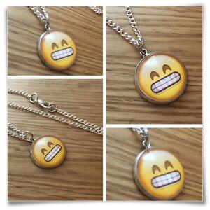 Emoji face Grin teeth eyes smile Charm pendant necklace txt geek
