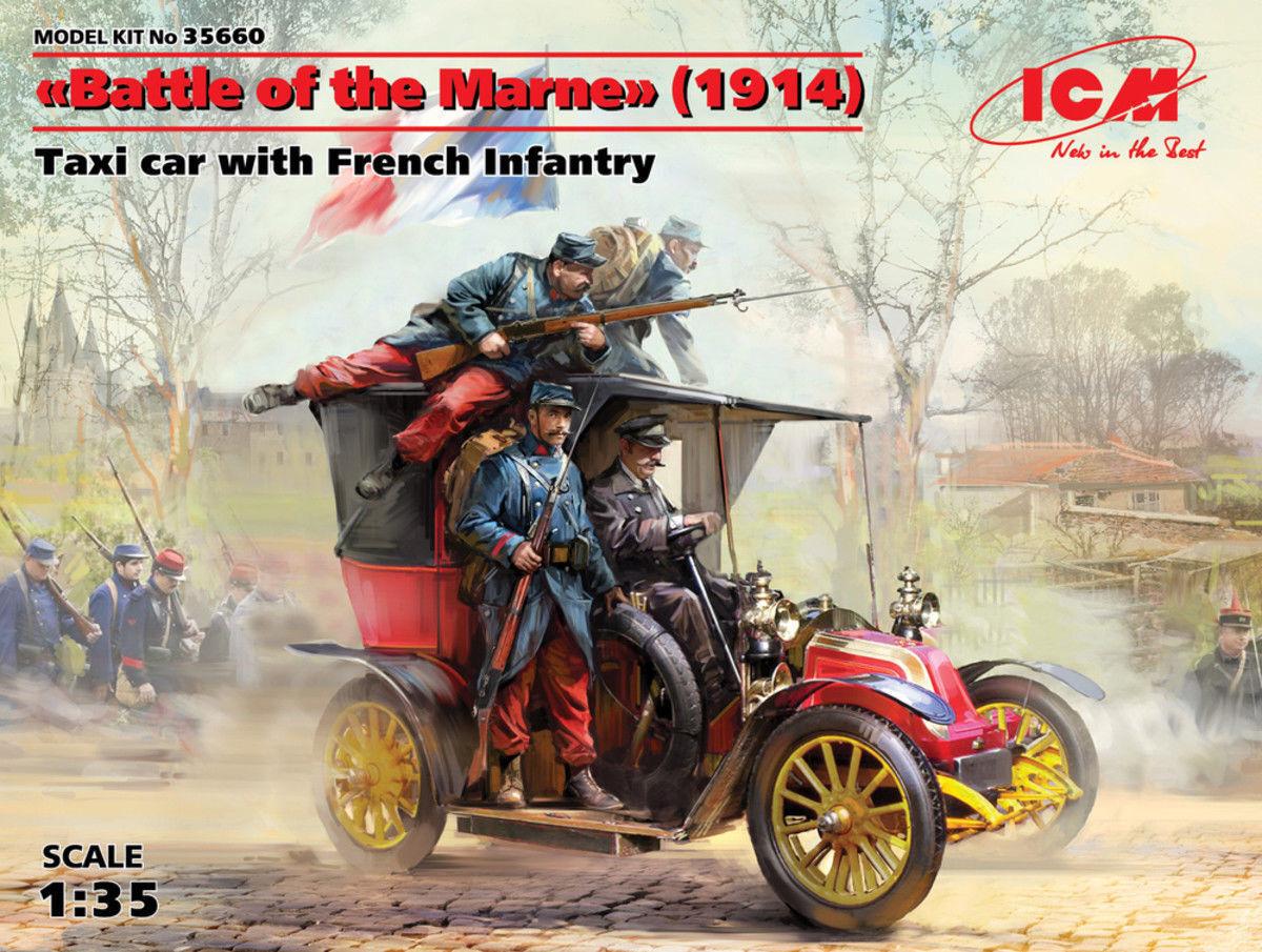 Icm Combat Of de Marne 1914 Taxi car avec France Infanterie 1 3 5 Kit Montage