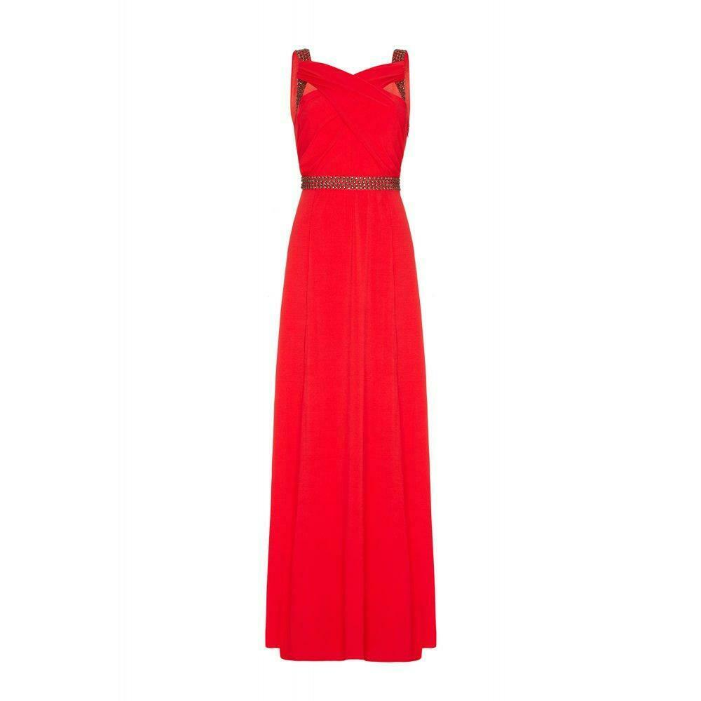 ALMOST FAMOUS DRESS EMBELLISHED MAXI CORAL RED LONG FULL LENGTH SZ 10UK RRP