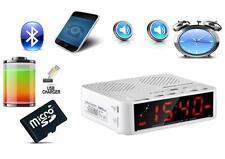 Bluetooth Lautsprecher Radio Wecker mit Freisprechfunktion + Akkubetrieb,  Weiß