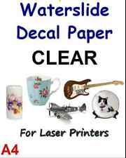 "WATER SLIDE DECAL TRANSFER PAPER - WHITE A4 LASER 5 SHEET 8.3"" x 11.7"" J2"