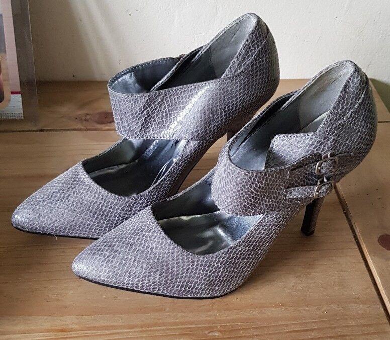 Women's Grey Stilettos Snake Effect 4'' Heel Stilettos Grey Work Size 5 NEW 4c79cc