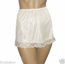 Cream French Knickers Size 10/12 Vintage Style Deep Lace Trim Textured Satin New