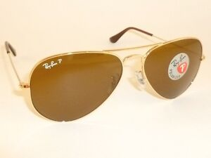 c5b005a38d7 New RAY BAN Aviator GLASS POLARIZED Brown RB 3025 001 57 Gold Frame ...