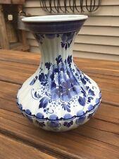 """Vintage / Antique ROYAL DEFLT handpainted 6 """" blue floral vase / jar 1909"""