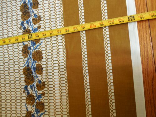 """36/"""" BTHY Vintage 1940's-60's Gold Honey-Comb with Border Print D165"""