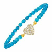 Heart Charm And Bead Bracelet with Cubic Zirconias in 18K Gold-Plated Brass