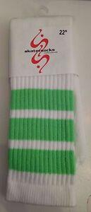NEW-Skater-Socks-Tube-Skate-Neon-Green-Stripes-22-Inch-Knee-High-Sport-Unisex