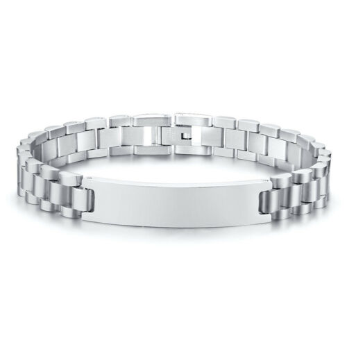 Men Women Couple Matching Bracelet Stainless Steel Chain Customized ID Engraving