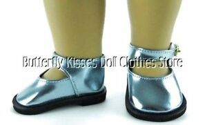 Teal-Blue-Metallic-Mary-Jane-Shoes-18-in-Doll-Clothes-Fits-American-Girl