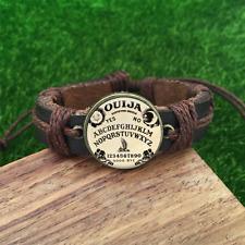 Ouija Board Brown Glass leather & chord Bracelet charm -unisex adjustabl-SL804