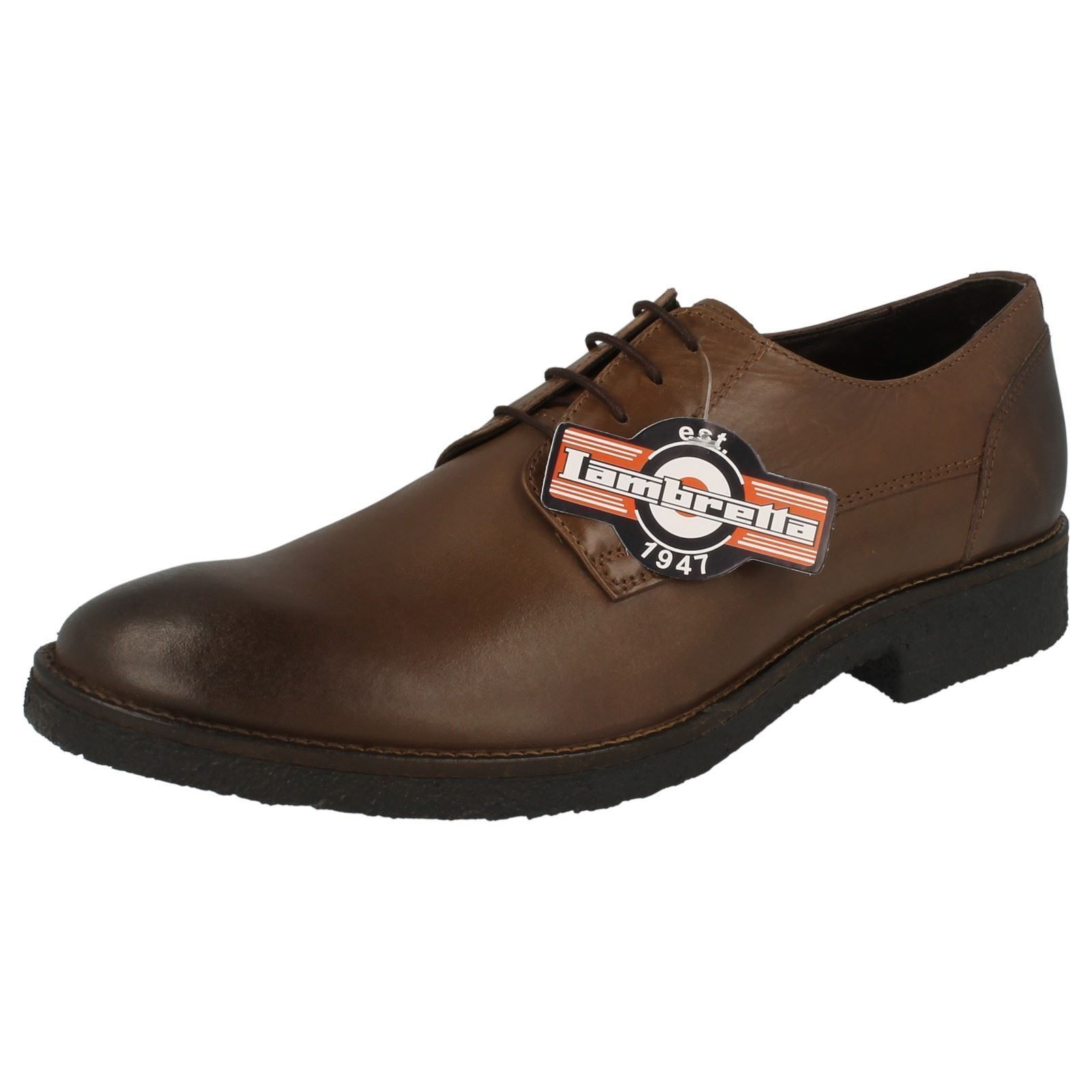 MENS LAMBRETTA LACE UP BROWN LEATHER ROUND TOE SMART FORMAL SHOES M-81