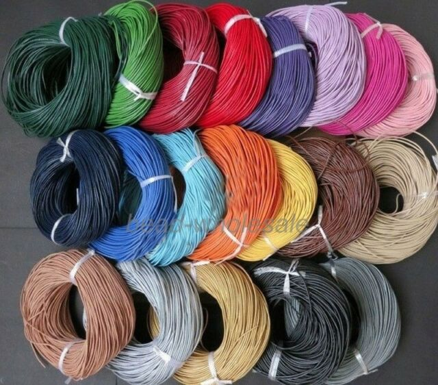 3m/5m Real Leather Necklace Charms Rope String Thread Cord For Jewelry DIY 1-3mm