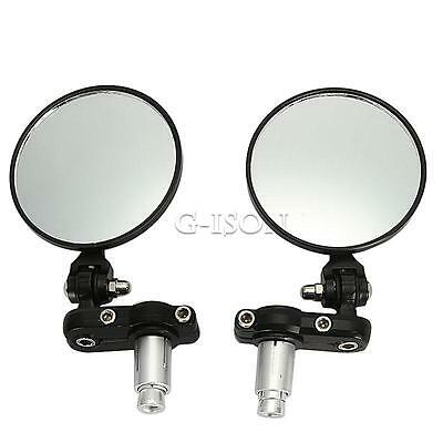 """Black Motorcycle 3"""" Round 7/8"""" Handle Bar End Rearview Side Mirrors Universal"""