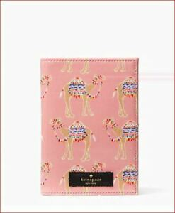 New-Authentic-Kate-Spade-Pink-Daycation-Camel-Party-Passport-Holder-wlru5283