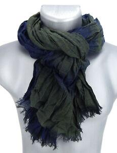 Ella-Jonte-Herrenschal-blau-dunkelblau-gruen-gestreift-Viskose-leichter-Schal