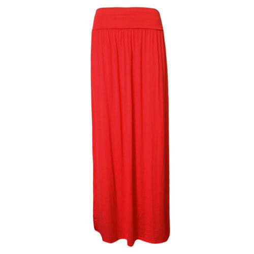 LADIES  FOLD OVER HIGH WAIST LONG PLEATED JERSEY MAXI GYPSY SKIRT 8-14
