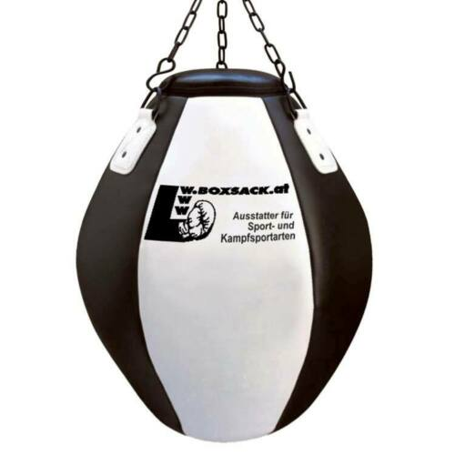 Boxsack Wrecking Ball Maisbirne aus Leder Schwarz-Weiß 55x35 cm
