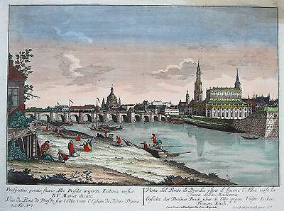 Probst nach Canaletto: Original altkol. Kupferstich Guckkastenblatt Dresden 1770