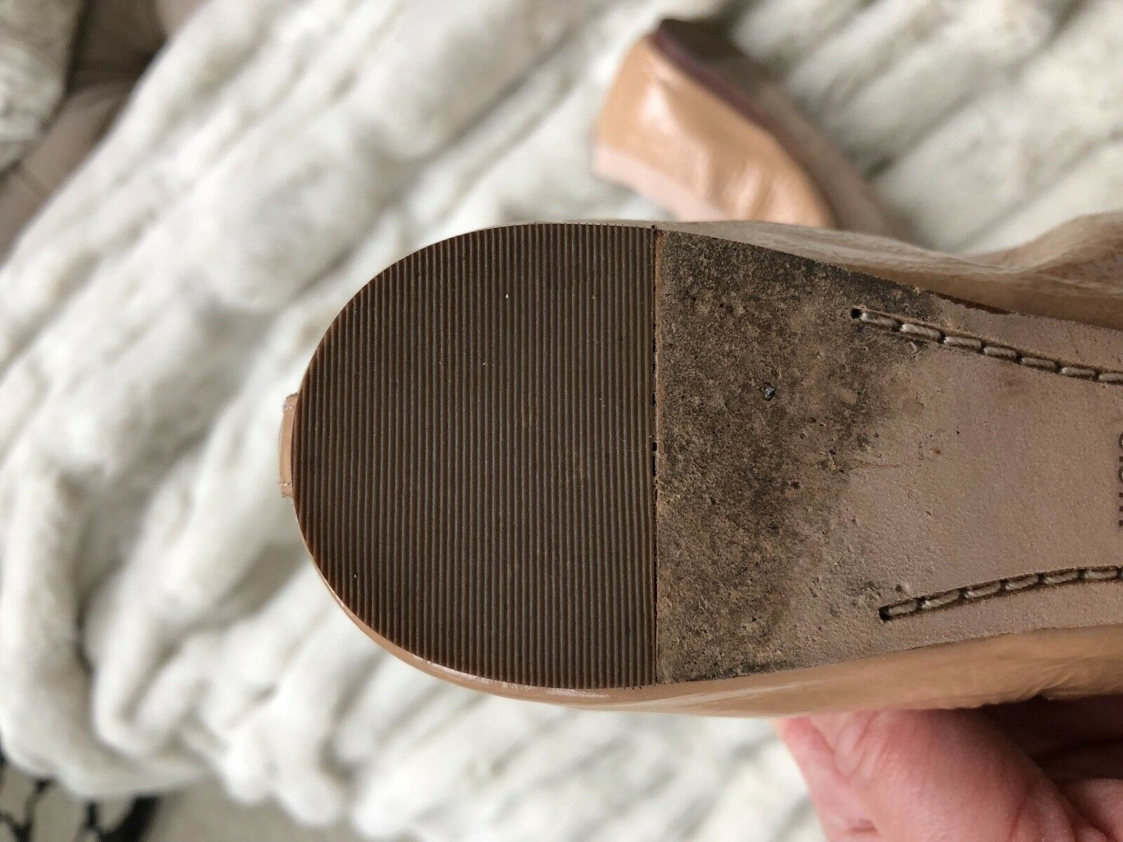 Tory Tory Tory Burch Caroline Nude Patent Leather Ballet Flats a61674