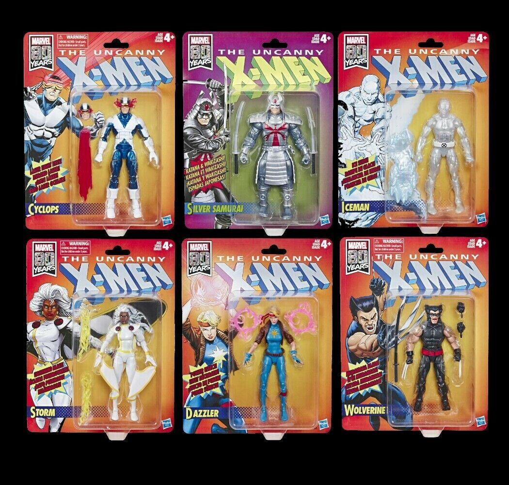 HASBRO™ MARVEL Legends - X-Sie - 6  Retro Collection - 6x Set - SOME CARD DAMAGE