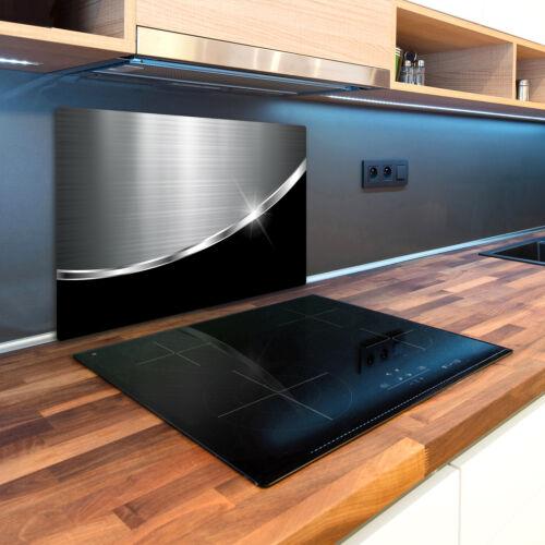 Glas-Herdabdeckplatte Ceranfeldabdeckung Spritzschutz 80x52 Metall Schwarz