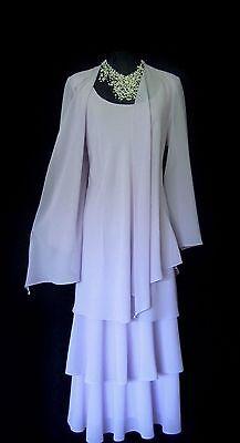 CATTIVA Size 18 Lilac Blue Ladies Designer Layered Wedding Dress & Jacket Outfit
