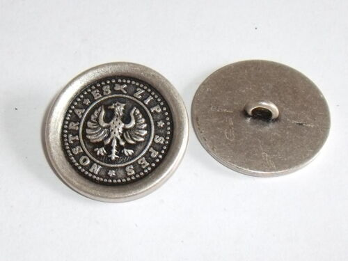 6 Stück Metallknöpfe Knopf Wappenknopf  23 mm altsilber NEU rostfrei #934.2#
