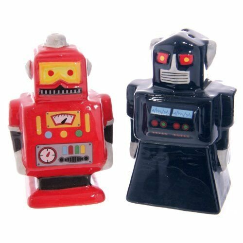 NOVELTY BLACK AND RED RETRO ROBOT SALT N PEPPER POTS SHAKERS NEW /& GIFT BOXED