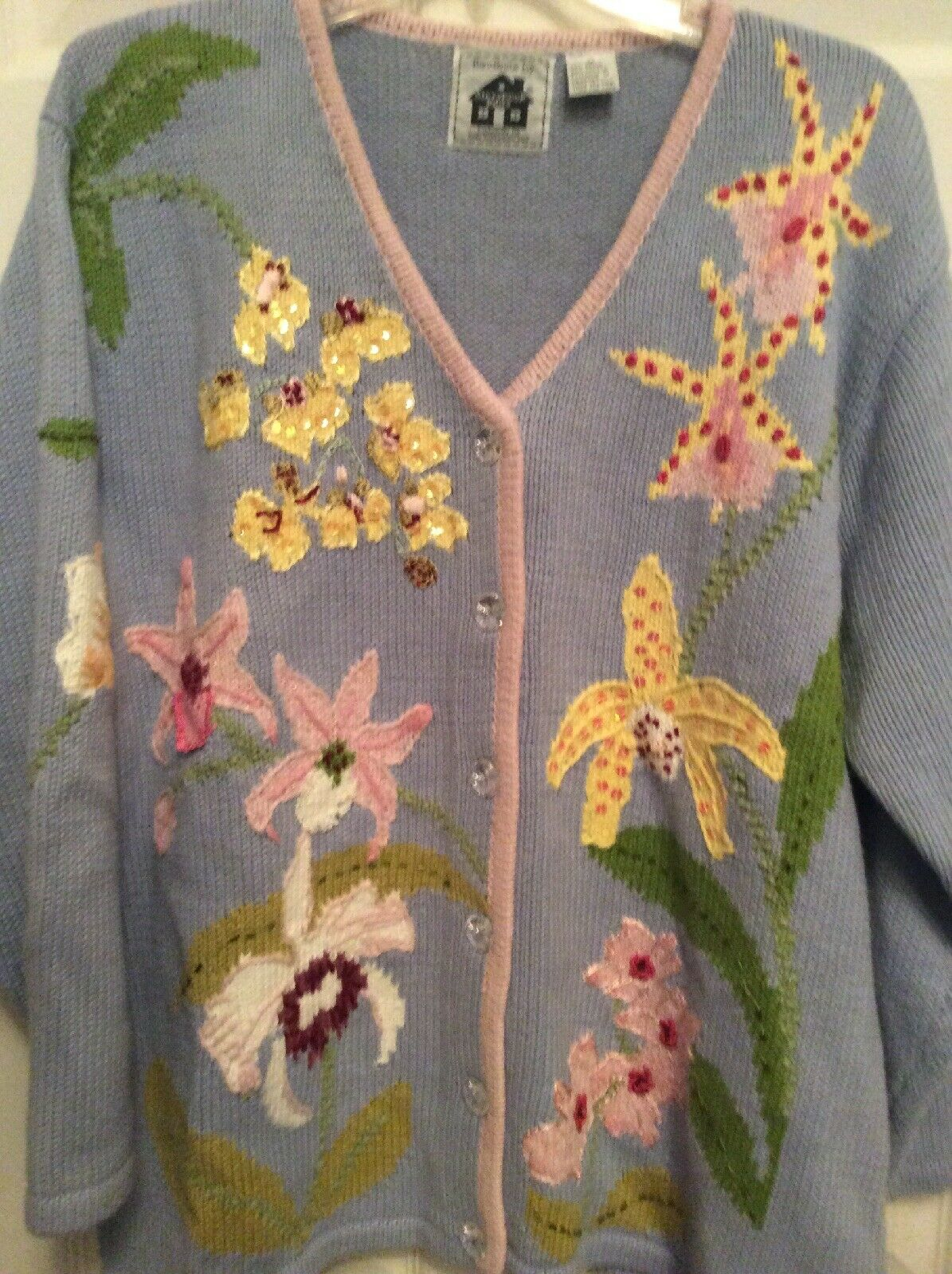 Handknits By Storybook Knits Flowers Button Front Front Front Sweater Women's Size 1X bluee 16f63c