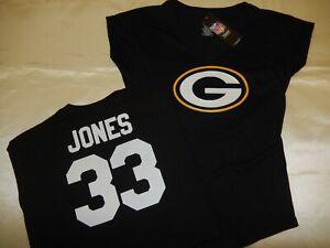1119 WOMENS Green Bay Packers AARON JONES V-Neck Football Jersey Shirt BLACK New