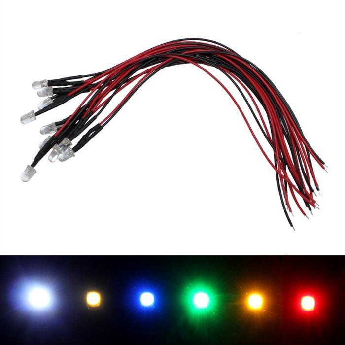 Helle LEDs 5V 12V 24V ; 3mm 3mm 3mm 5mm ; versch. Farben ; Kabel 20cm ; LED Modellbau  | Sofortige Lieferung  12279b