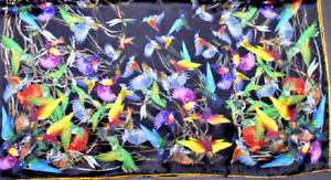 100-Pure-Silk-Scarf-90cm-HOORAY-At-Last-The-Birds-This-Is-it-GottaLovemBLACK-BR