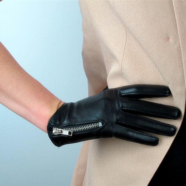 Real Leather Short Black Genuine Lambskin Sheepskin Zipper Women Ladies Handmade