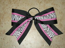 "NEW ""BLACK & PINK ZEBRA"" Cheer Bow Pony Tail 3 Inch Ribbon Girls Cheerleading"