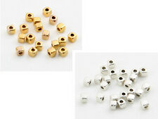 New 1000pcs Tibetan Silver/Gold Square/Cube-Smooth Spacer Beads 3mm (Lead-free)
