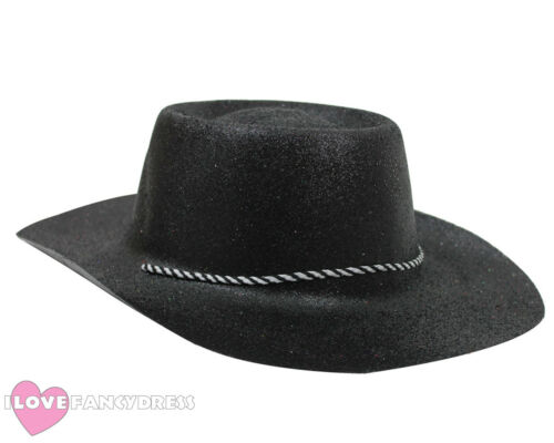 BLACK GLITTER COWBOY HAT WILD WESTERN COWGIRL HEN STAG PARTY HOLIDAY FANCY DRESS
