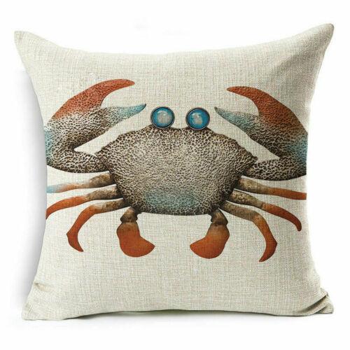 """18/"""" Bleu Mer Animal Coton Lin Canapé Cushion Cover Throw Pillow Case Home Decor"""