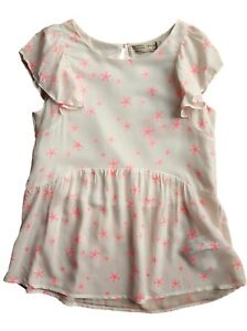 ZARA Girls IVORY Shimmer Striped Casual Cotton Shirt Blouse Tunic Top 4-8y £17.9