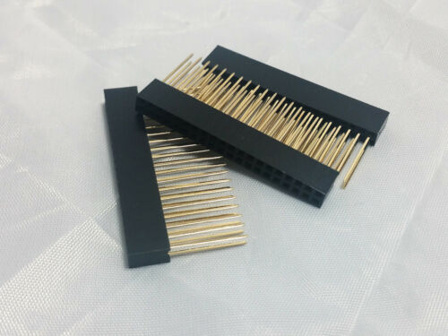 6X Raspberry Pi Stacking GPIO Header 2x20 40P 40 pin 2.54 Female Extra Long Pins