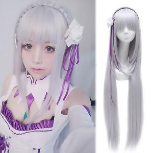 Re:Zero kara Hajimeru Isekai Seikatsu Emilia Silver Long Cosplay Wig+Headwear