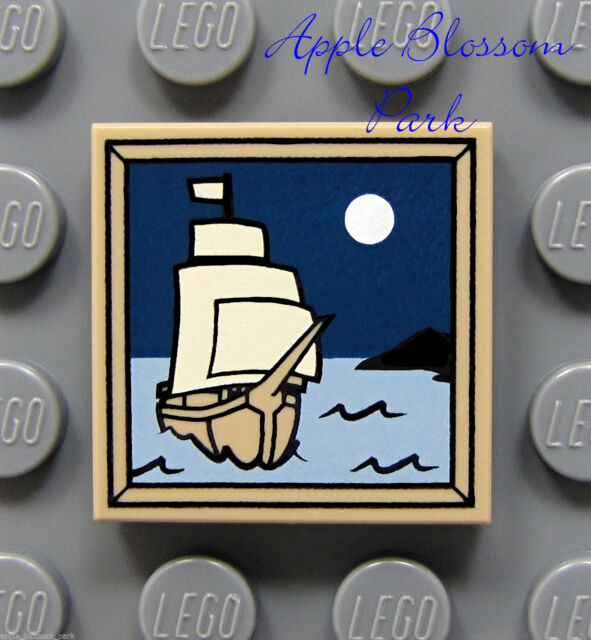 NEW Lego Pirate Ship 2x2 Printed Dark Tan TILE Painting Sail Boat Ship Moon 4193