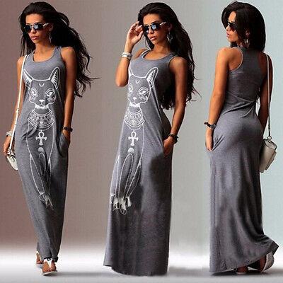 Boho Womens Tops Maxi Dress Sleeveless Summer Evening Long Skirt Beach Sundress