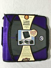 Case It Mighty Zip Tab 3 3 Ring Zipper Binder Purple D 146 Purple