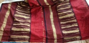 8-Mts-Cranberry-Striped-Cotton-Sateen-Curtain-Fabric-Gold-Detail