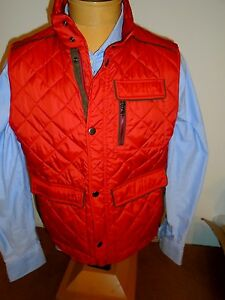 Paul-amp-Shark-Quilted-Vest-With-Suede-Trim-NWT-Medium-995-Red-Made-In-Italy