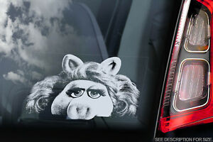 Miss-Piggy-Voiture-Fenetre-Sticker-The-Muppet-Show-Peeper-Signe-Decalque