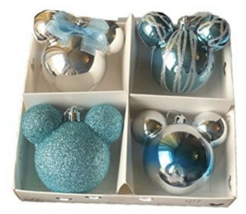 Disney Primark Mickey And Minnie Mouse Christmas Baubles Decorations Teal Silver