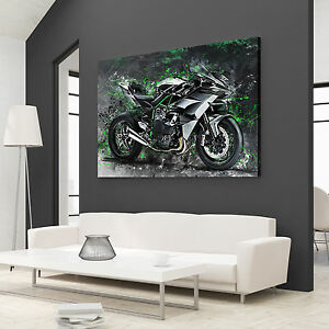 kawasaki ninja h2r leinwand bild motorrad deko wandbild poster xxl kunst ebay. Black Bedroom Furniture Sets. Home Design Ideas
