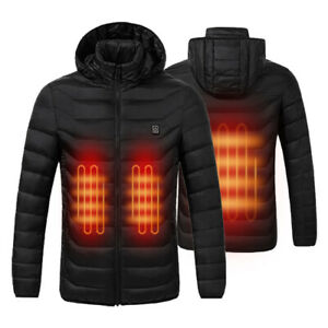 Mens USB Electric Smart Heated Hooded Coats Unisex Outdoor Warm Jacket Clothes